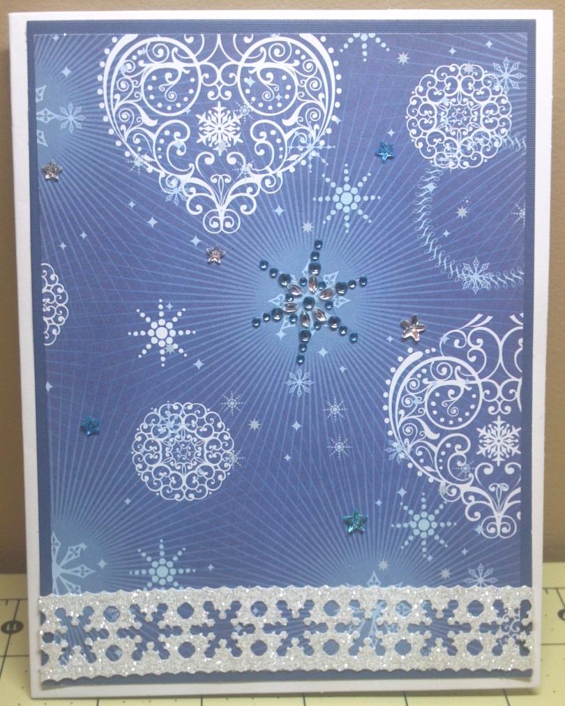 Blue Snowflake Stars Card