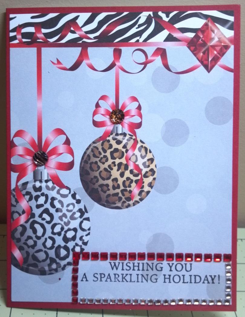 Sparkling Christmas Animal Print Ornament Card