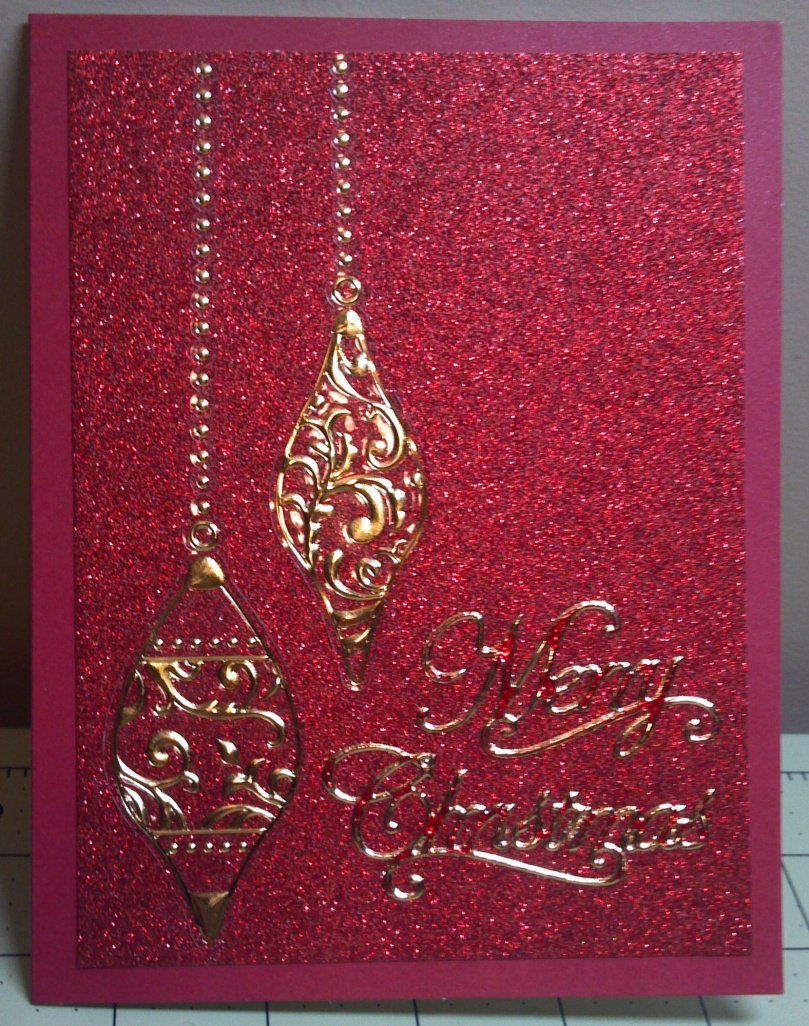 Red Gold Glitter Ornament Card