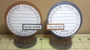 TCC 2013 Goal Calendar Clock Journal Cards for Jan. and Feb.