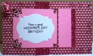 Valentine Birthday Flip Card - card opened flat