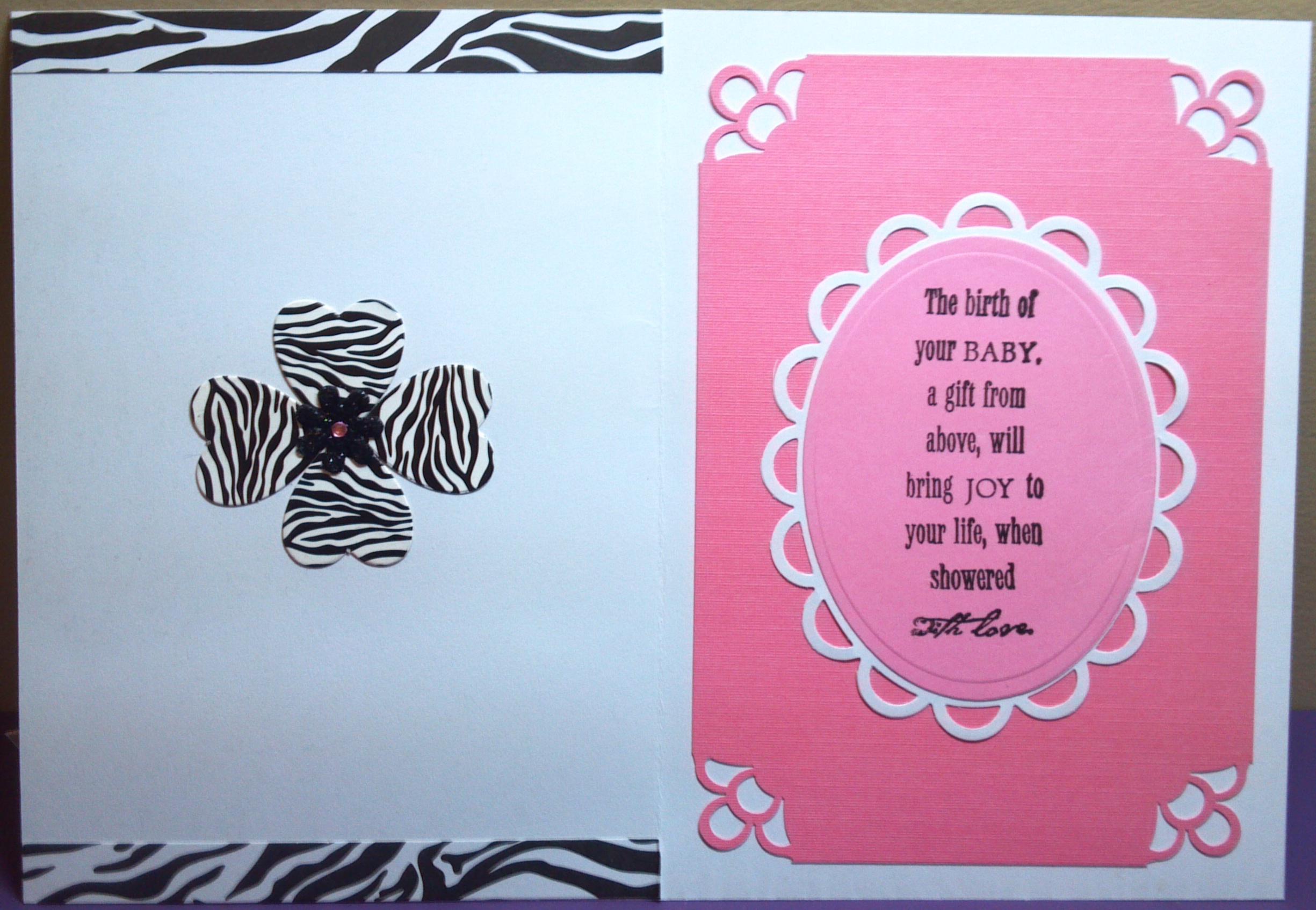 zebra baby shower card the sewgood crafter