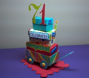 Birthday Celebration Wagon on a Base