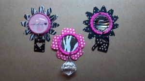 Pink and Black Altered Bottle Caps