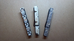 Black and Gray Altered Clothes Pins