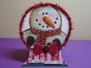 Snowman Snow Globe Shaped Christmas Card