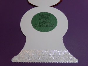 Snowman Snow Globe Shaped Christmas Card - Inside
