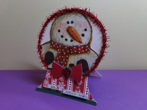 Snowman Snow Globe Shaped Christmas Card  Angled View