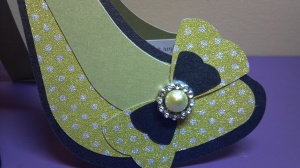 High Heel Shoe Birthday Card - Front Bow Detail