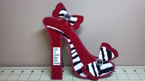 Red and Zebra High Heel Shoe Birthday Card