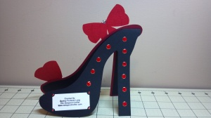Red and Zebra High Heel Shoe Birthday Card - Back
