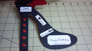 Red and Zebra High Heel Shoe Birthday Card - Inside