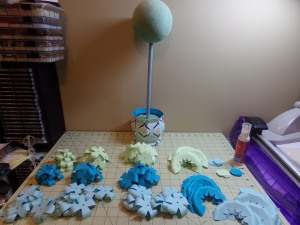 Assorted Crowns Topiary Centerpiece In the Works