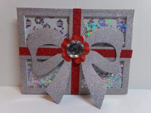 Christmas Present Shaker Card Front View