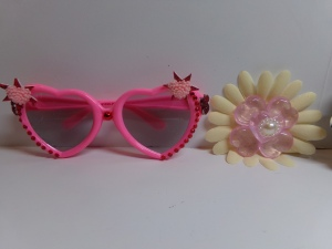 Blinged out Sunglasses and Heart Flower