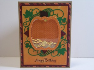 Pumpkin Shaker Birthday Card Front View