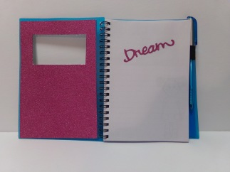 i covered the inside covers with hot pink glitter paper.